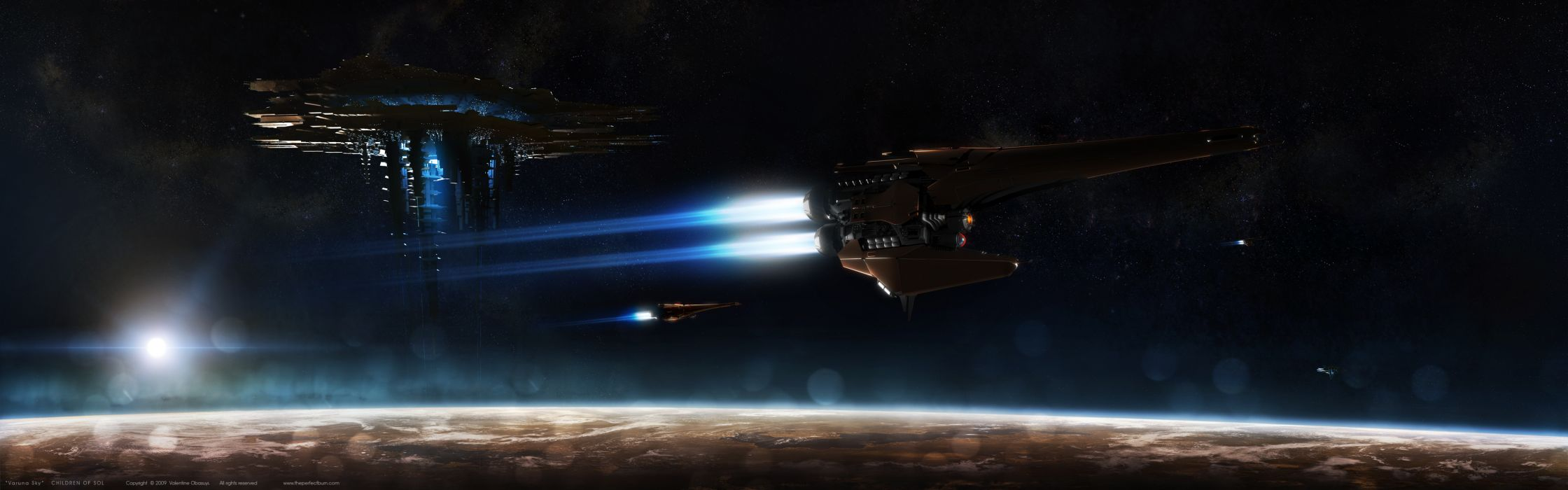 Outer space planets spaceships space station vehicles wallpaper