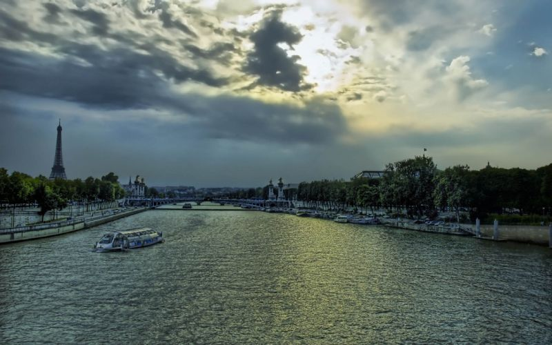Paris sunset clouds france europe boats vehicles hdr photography rivers wallpaper