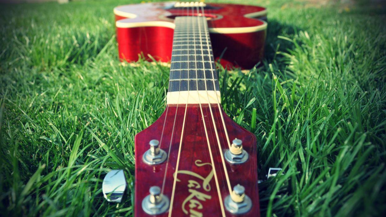 Music grass guitars wallpaper