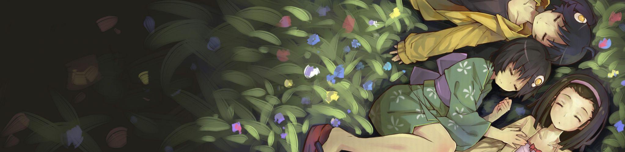 Black flowers bakemonogatari plants short hair sengoku nadeko sleeping closed eyes yukata flame japanese clothes hair band hair ornaments nisemonogatari araragi karen araragi tsukihi black hair wallpaper