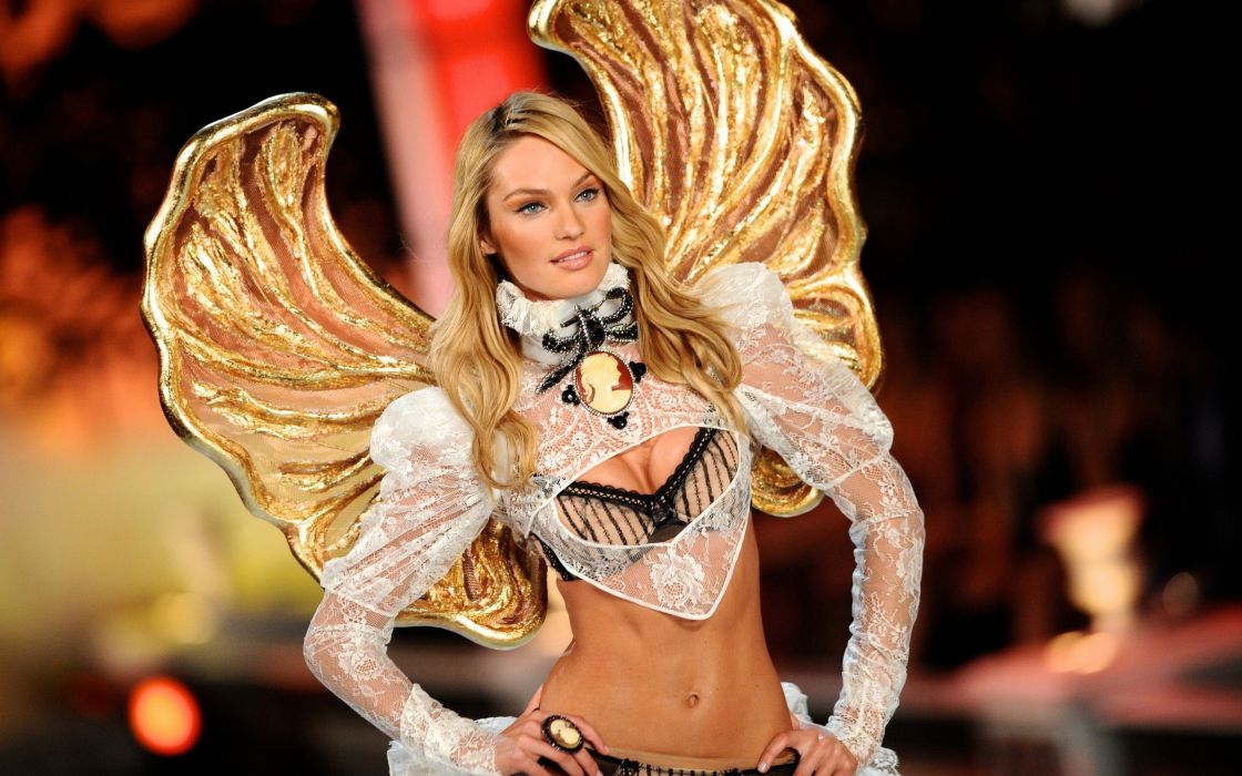 Lingerie blondes women candice swanepoel victorias secret runway wallpaper