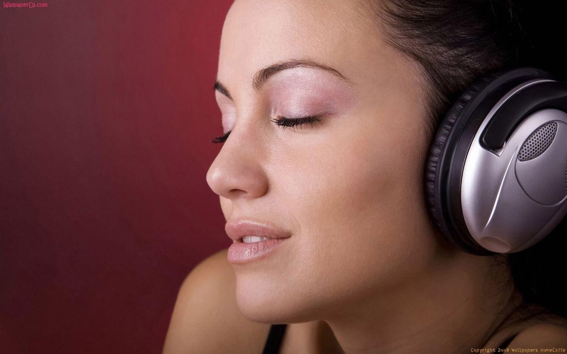 Women headphones girl closed eyes faces wallpaper