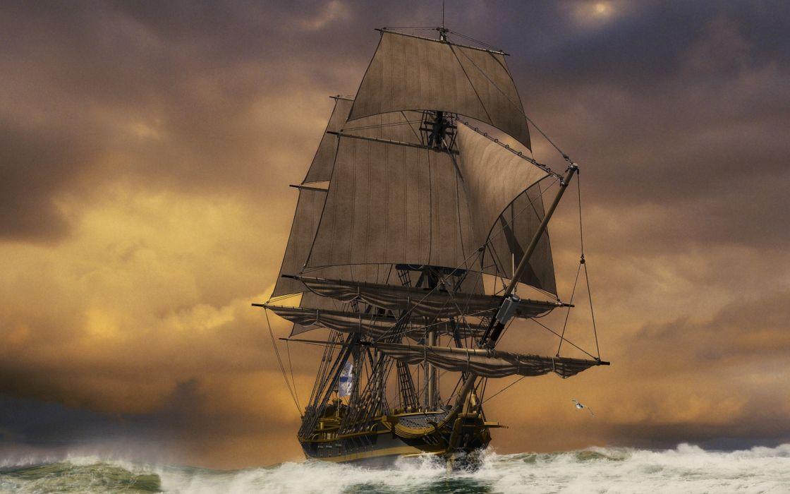 Sunset ocean ships sail ship sailing sails wallpaper