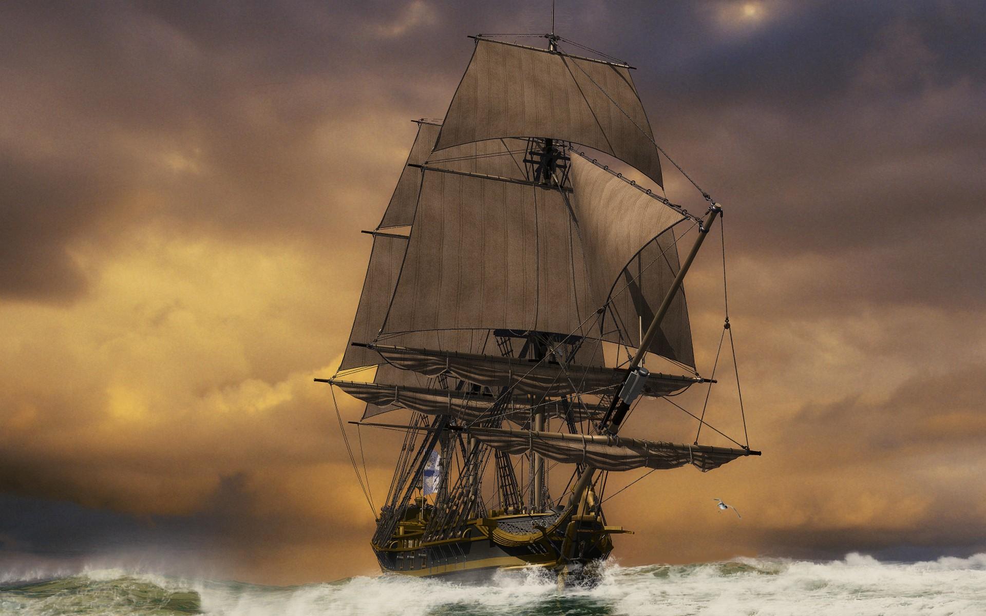 Sunset ocean ships sail ship sailing sails wallpaper ...