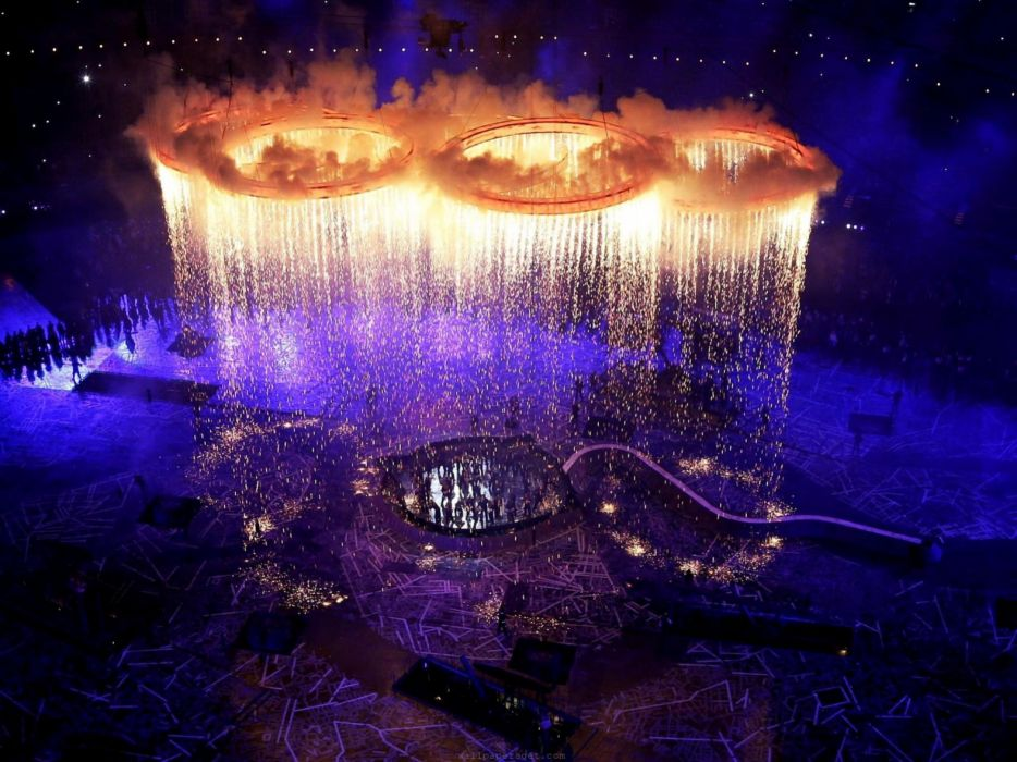 Fire fireworks london rings scene olympics 2012 wallpaper