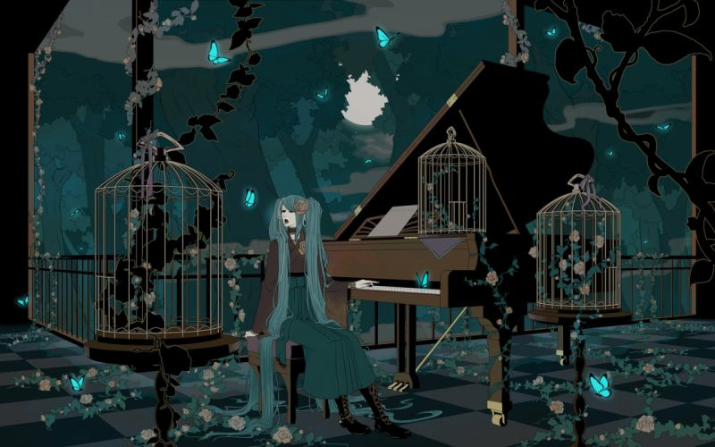 Vocaloid piano hatsune miku long hair cage artwork anime girls wallpaper