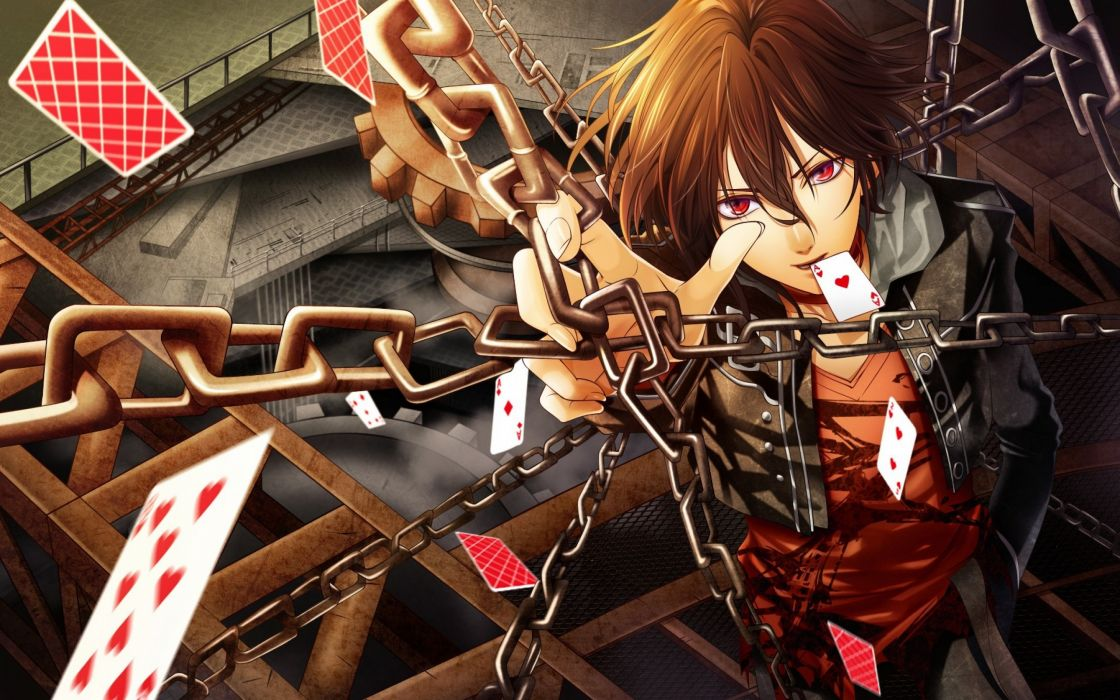 Cards Red Eyes Anime Boys Chains Looking Up Wallpaper