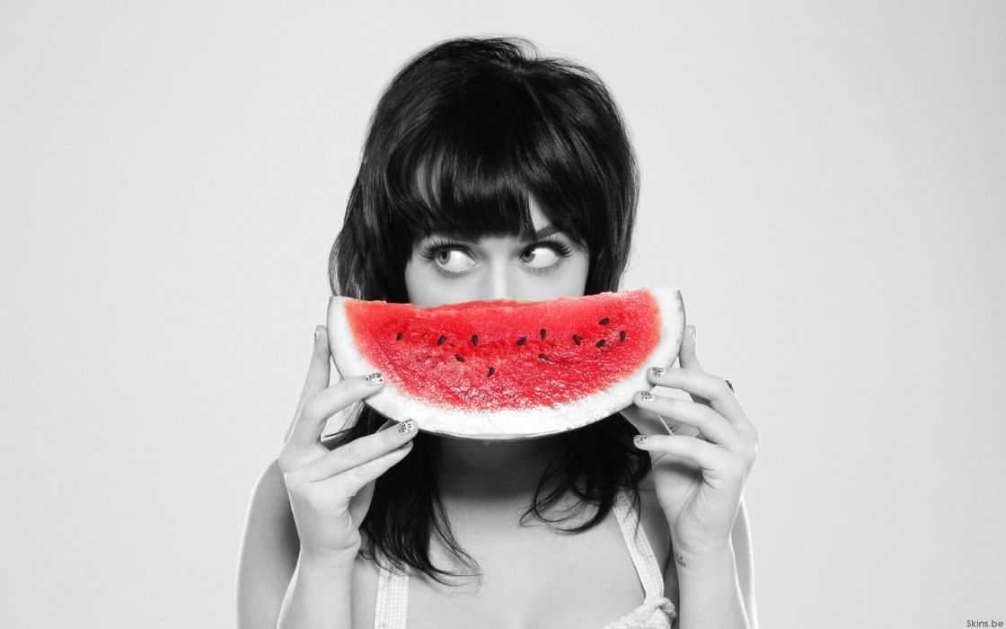Women katy perry fruits watermelons singers selective coloring wallpaper
