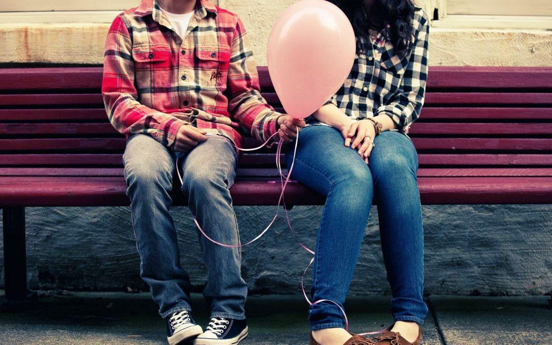 Women love bench sitting boys balloons lovely angel wallpaper