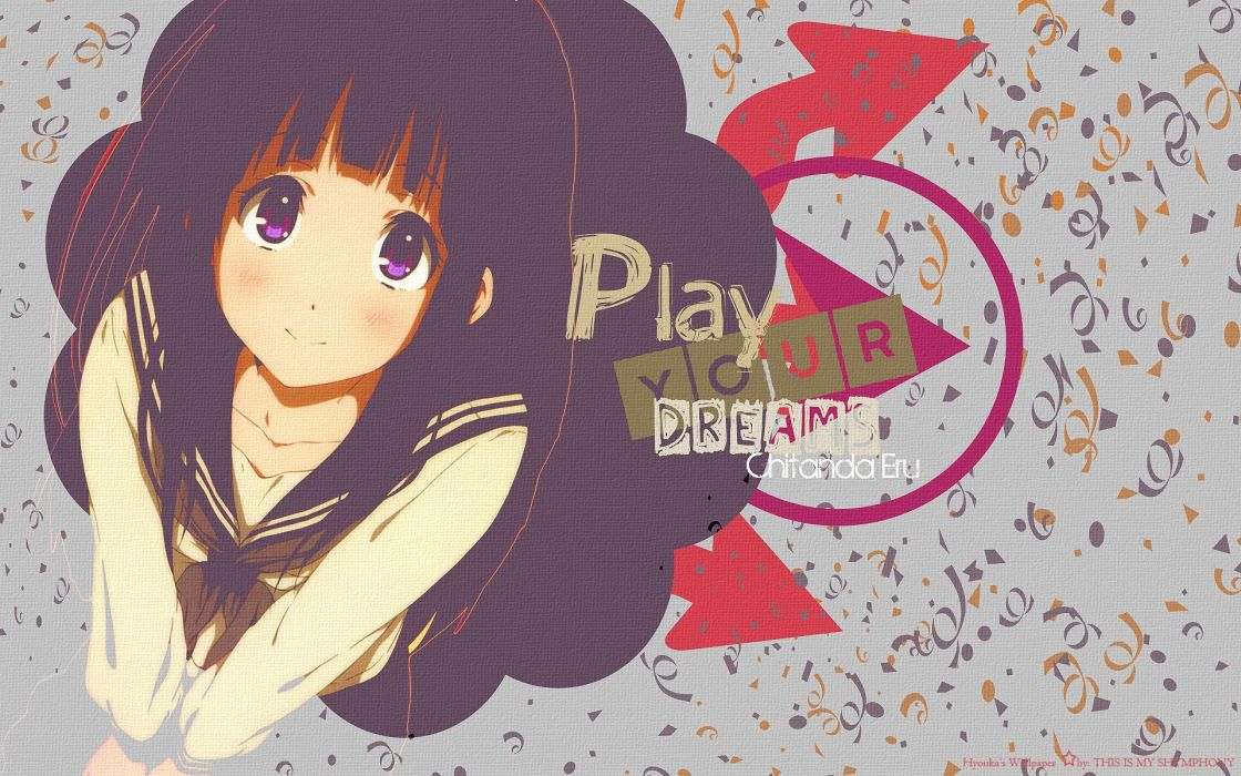 Texts school uniforms long hair blush anime purple eyes anime girls black hair hyouka chitanda eru wallpaper