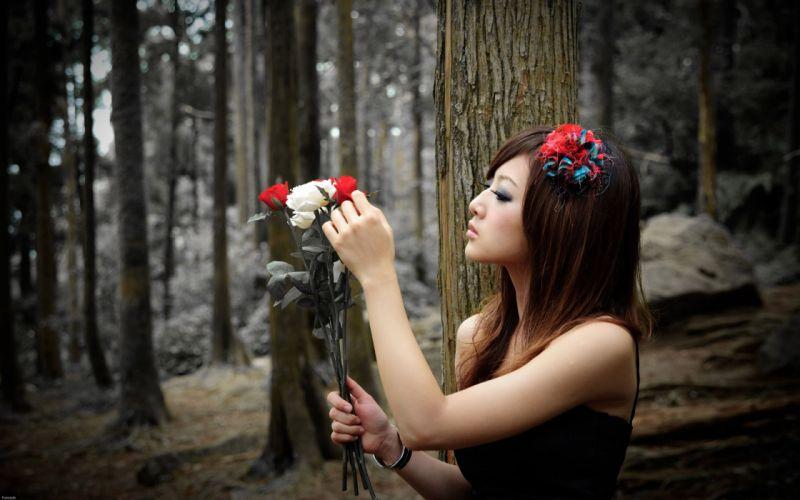 Women asians roses wallpaper