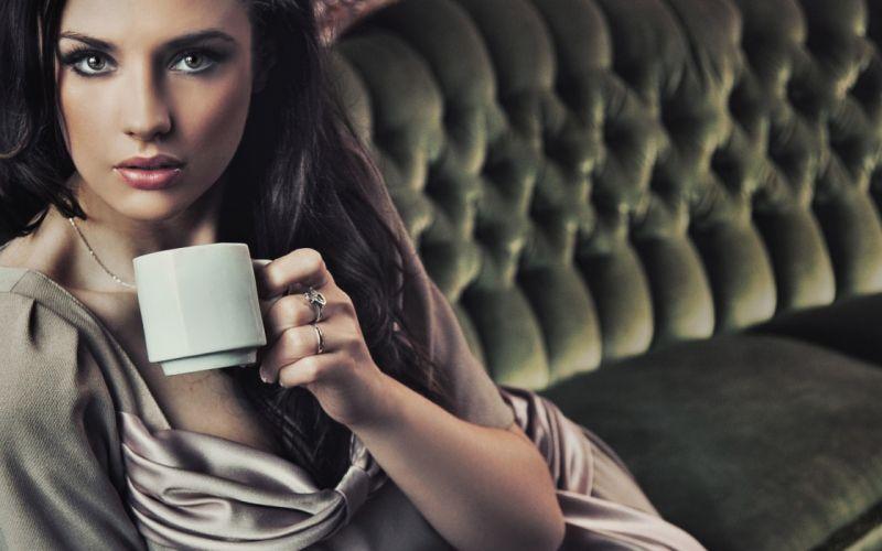 Brunettes women coffee models wallpaper