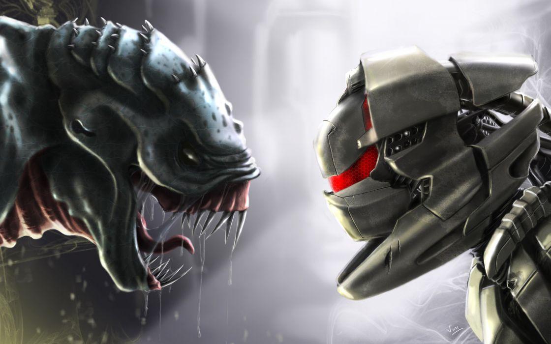 Predator digital art alien wallpaper