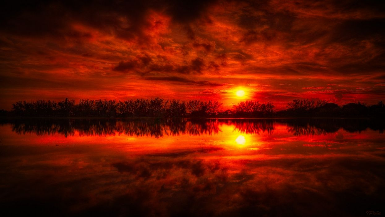 Sunset landscapes nature reflections wallpaper