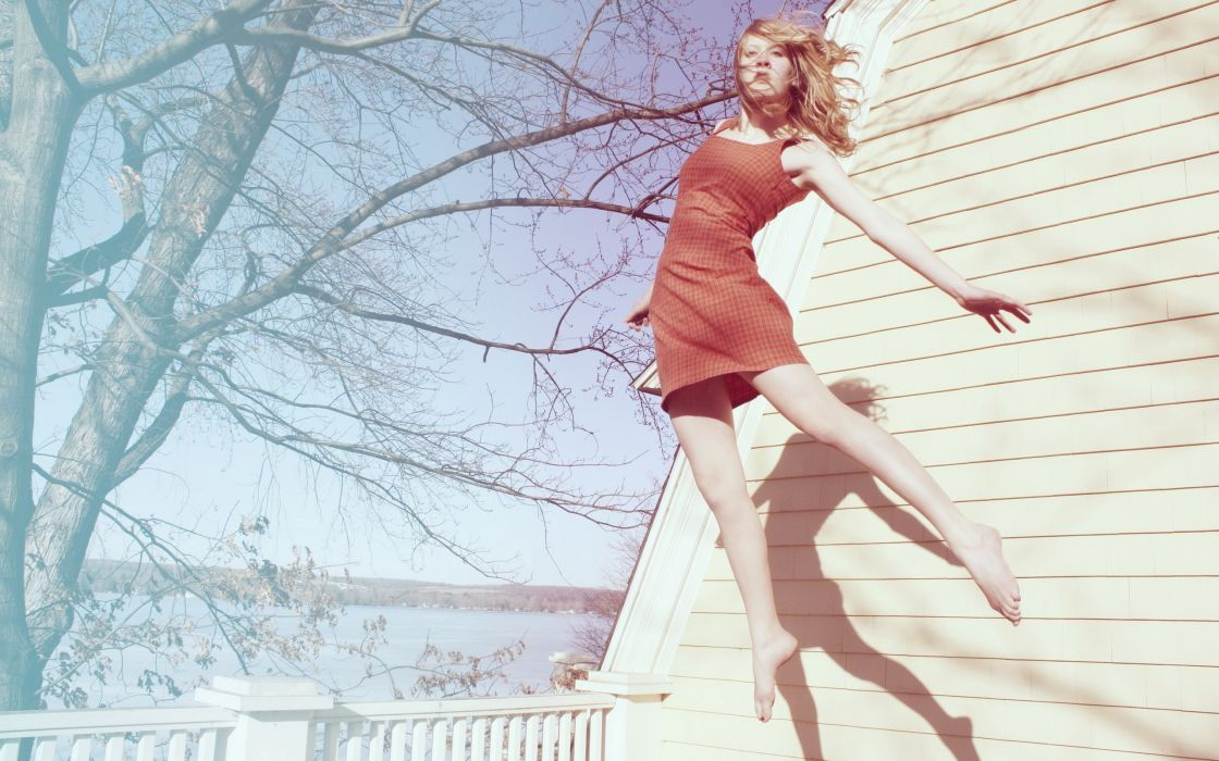 Blondes women trees houses jumping shadows wallpaper