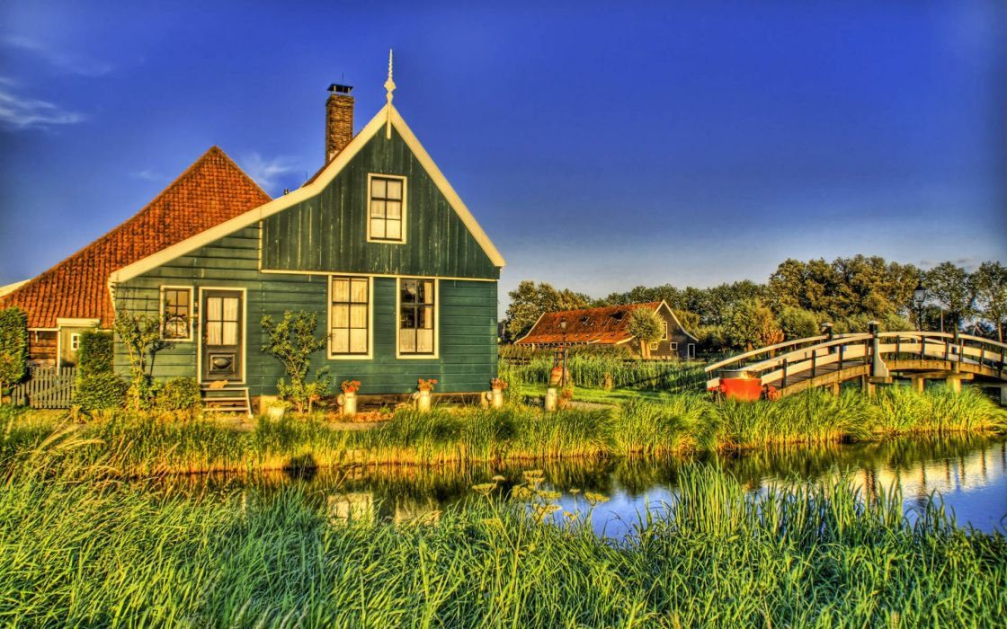 Beach houses hdr photography wallpaper
