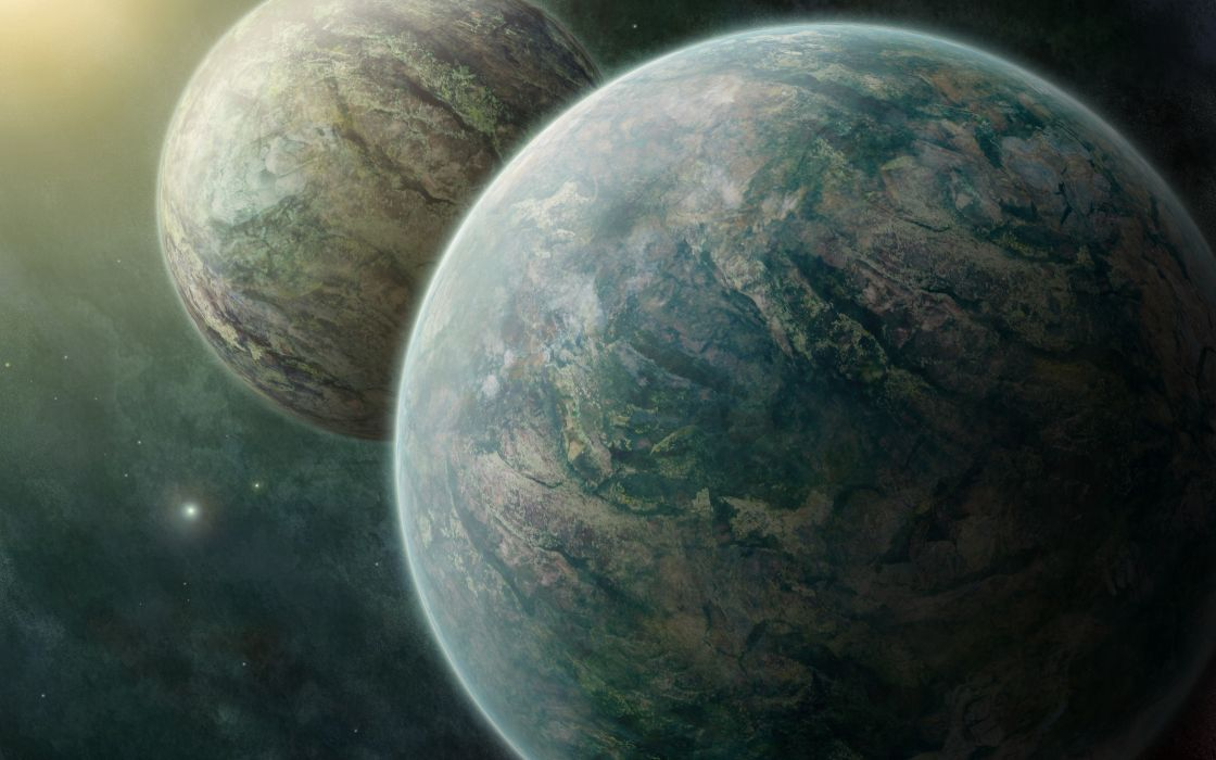 Outer space planets twins space art wallpaper