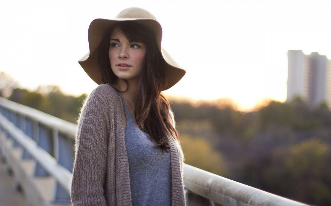 Brunettes women models nose ring hats devyn hannon wallpaper