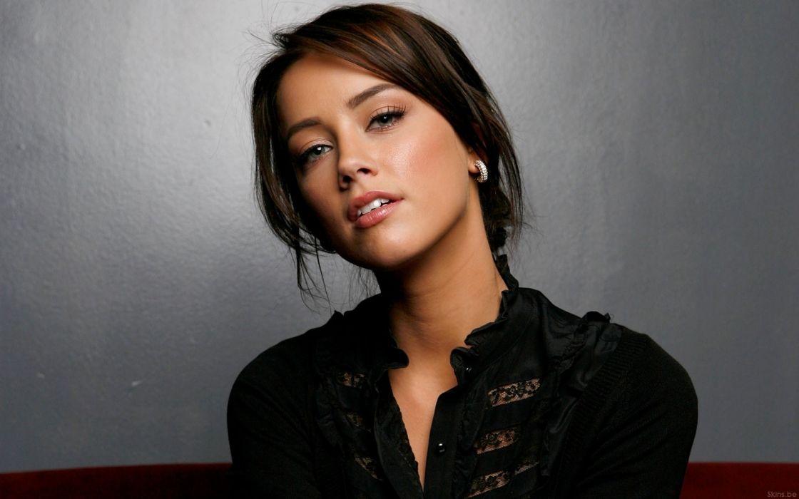 Brunettes women actress fashion amber heard earrings black dress wallpaper