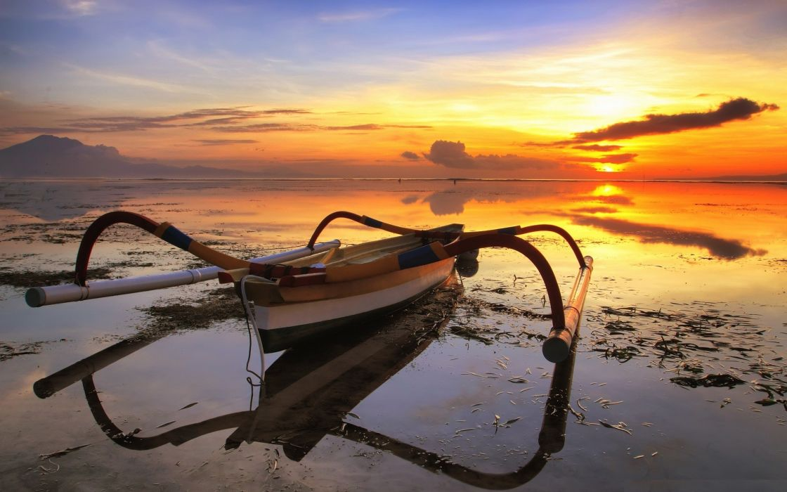 Sunset nature sun beach seas boats fishing sunlight wallpaper