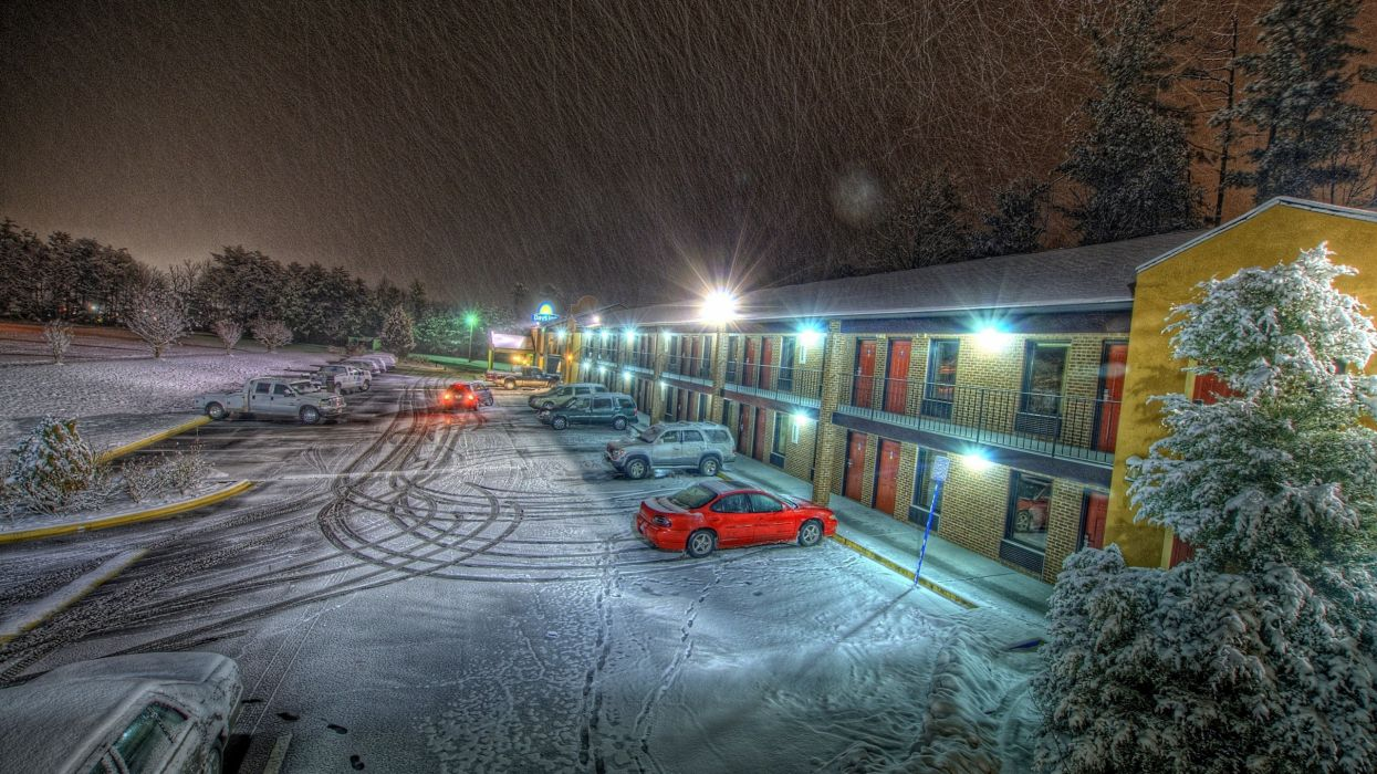 Light snow night cars storm long exposure hotel wallpaper