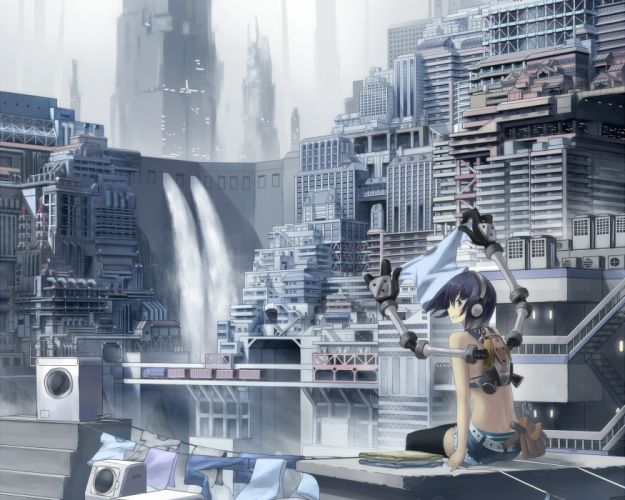 Women landscapes cityscapes cyborgs headphones girl science fiction wallpaper
