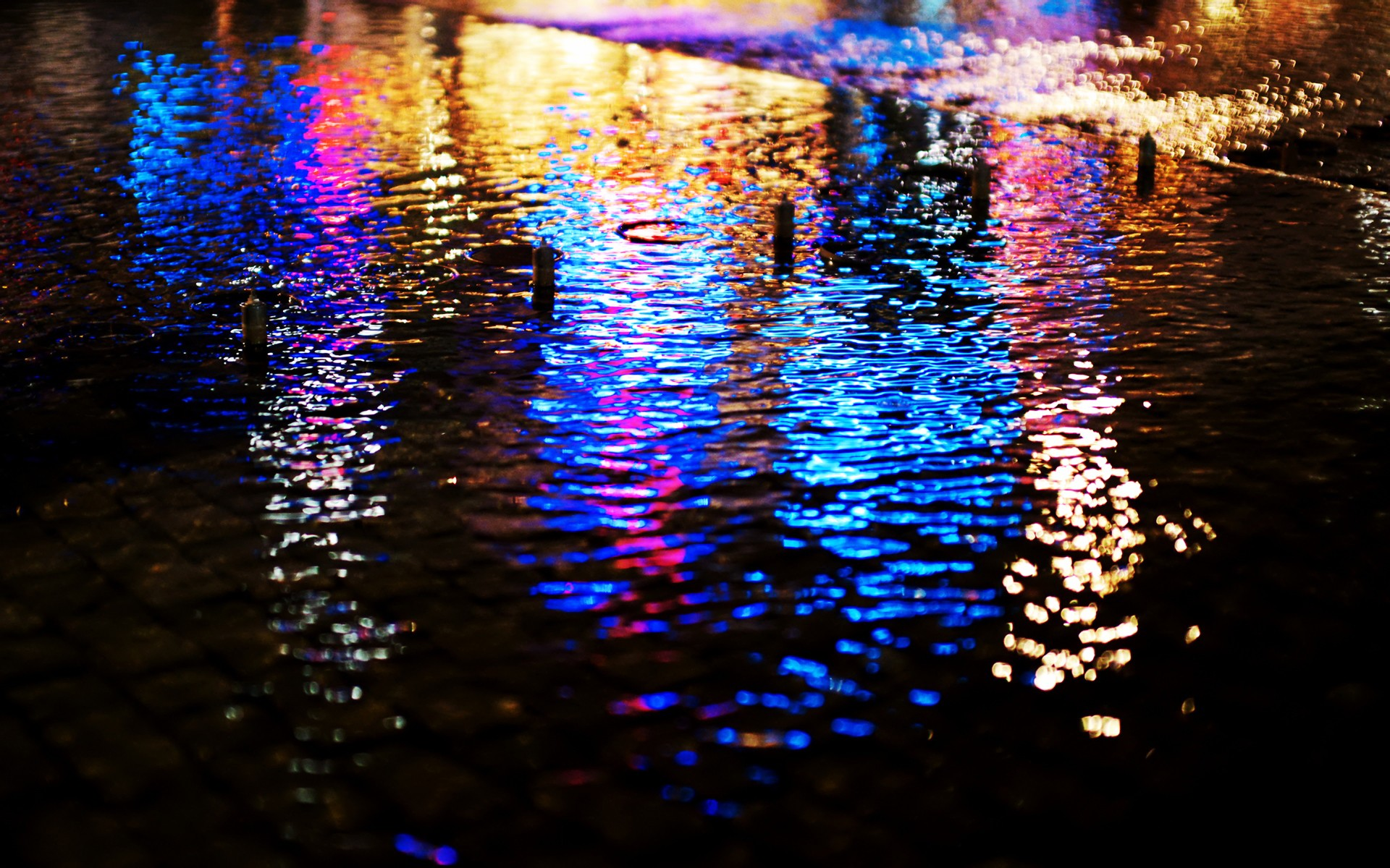 Streets Lights Wet Pavement Bokeh Reflections Wallpaper