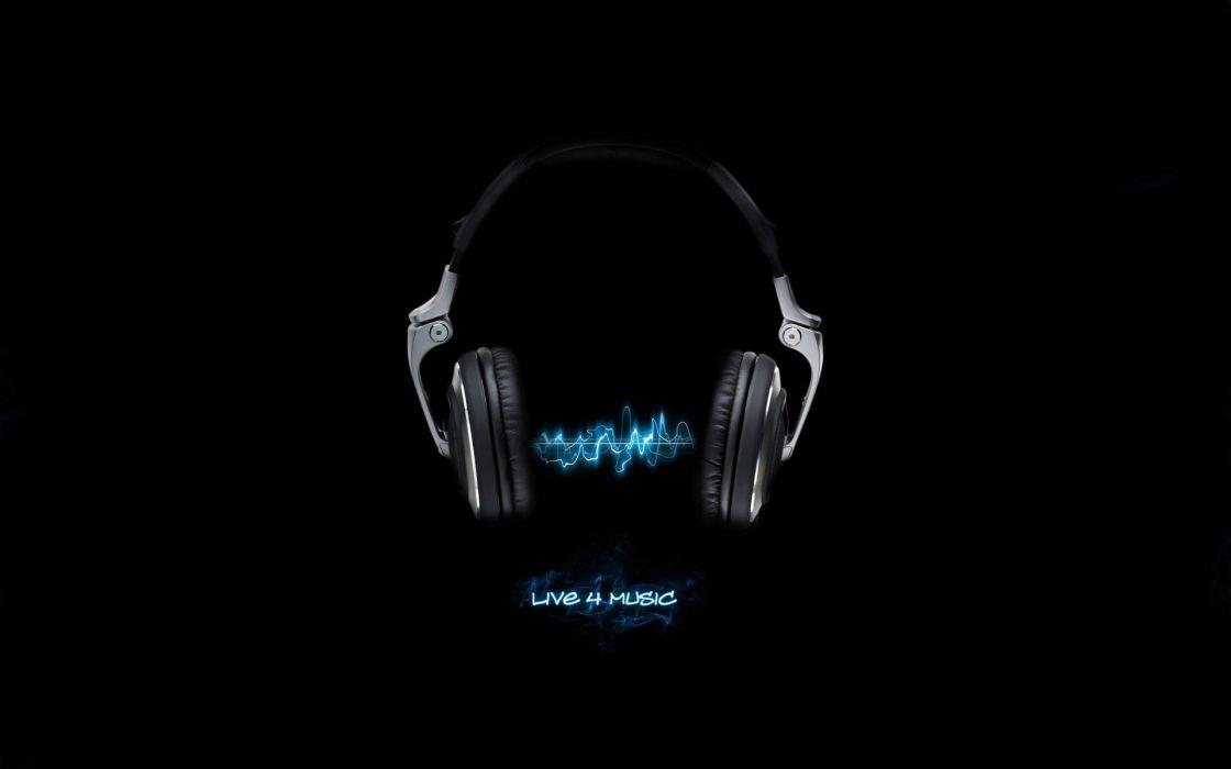 Headphones music black background wallpaper