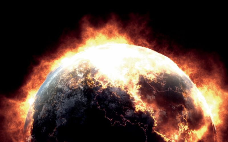 Earth apocalypse fired black background wallpaper
