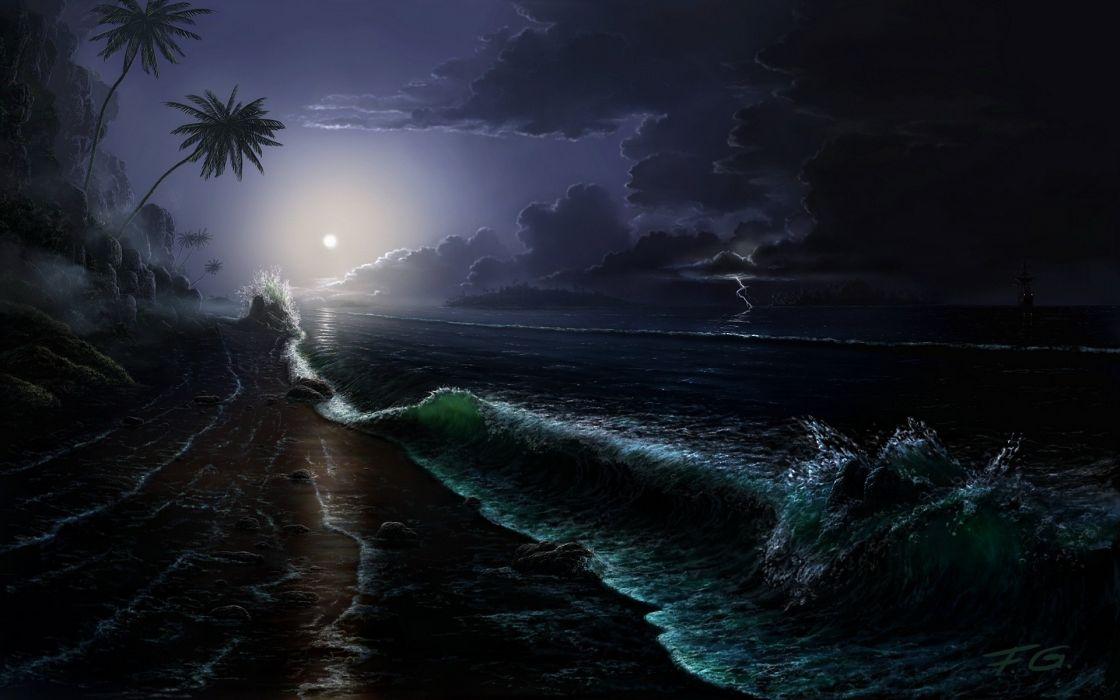 Moon skies sea wallpaper