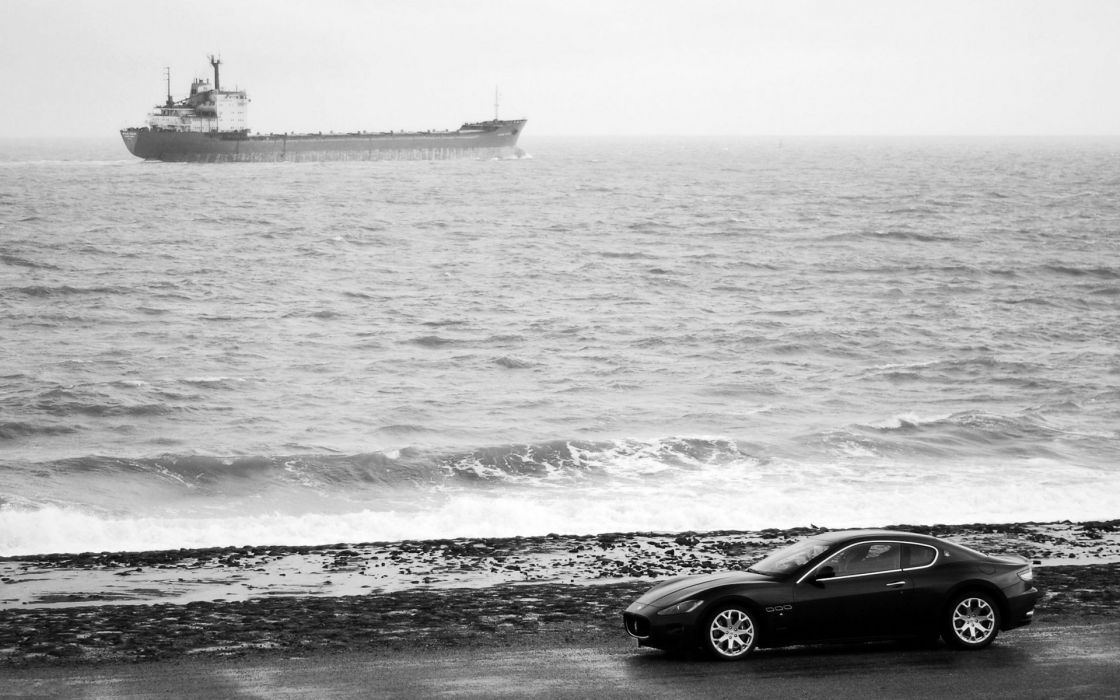 Ocean cars ships shore maserati monochrome vehicles greyscale wallpaper