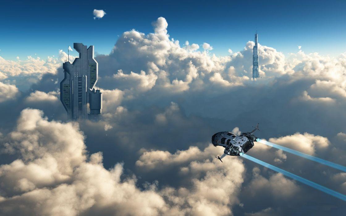 Clouds aircraft futuristic 3d skyscapes wallpaper