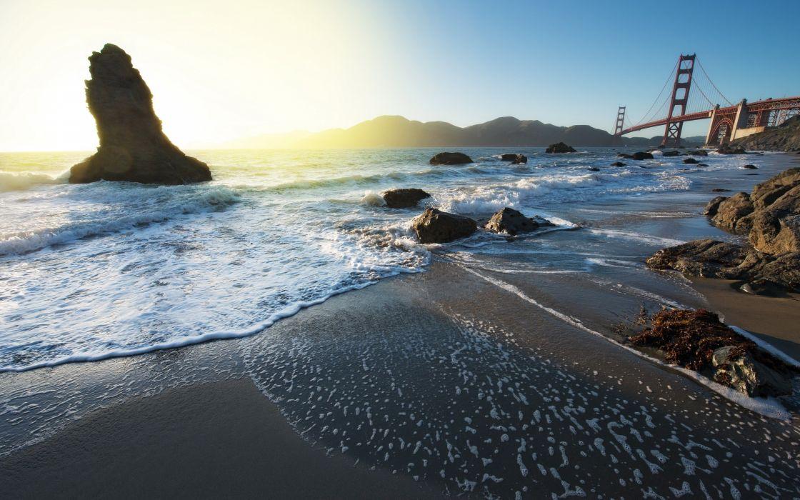Water nature seas rocks bridges seascapes wallpaper