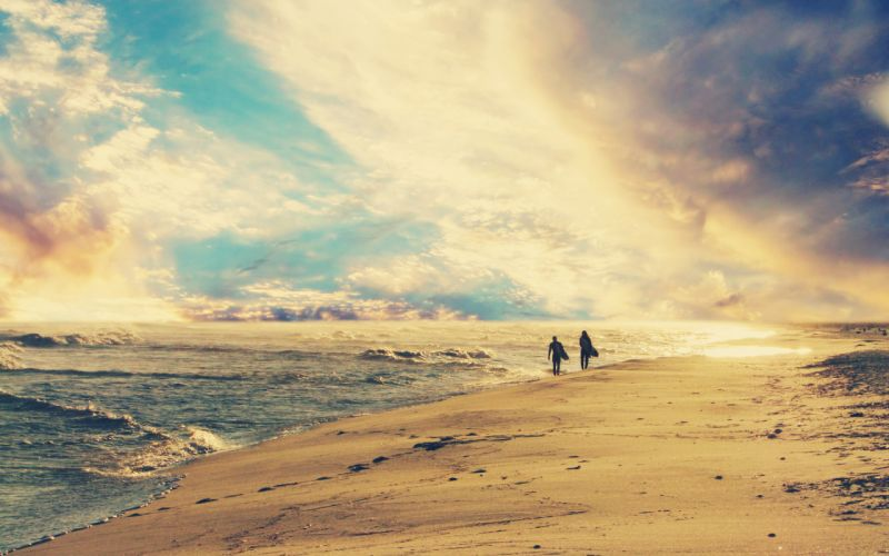 Beach surfers skyscapes wallpaper