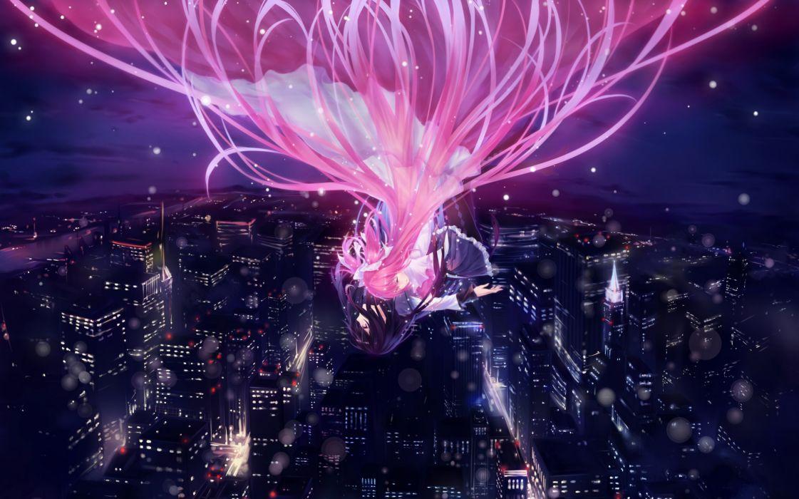 Water cityscapes night stars flying skirts long hair ribbons purple hair pantyhose pink hair twintails mahou shoujo madoka magica blush kaname madoka crying akemi homura purple eyes skyscapes anime girls wallpaper
