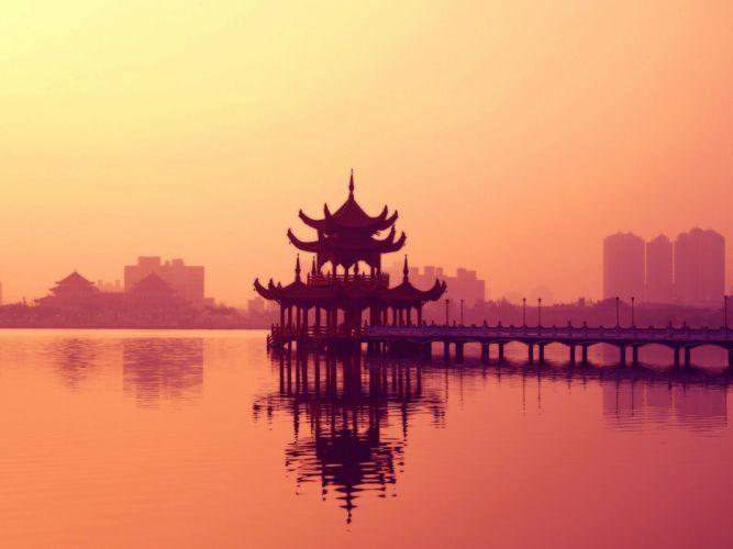 Sunset cityscapes architecture bridges buildings temple wallpaper