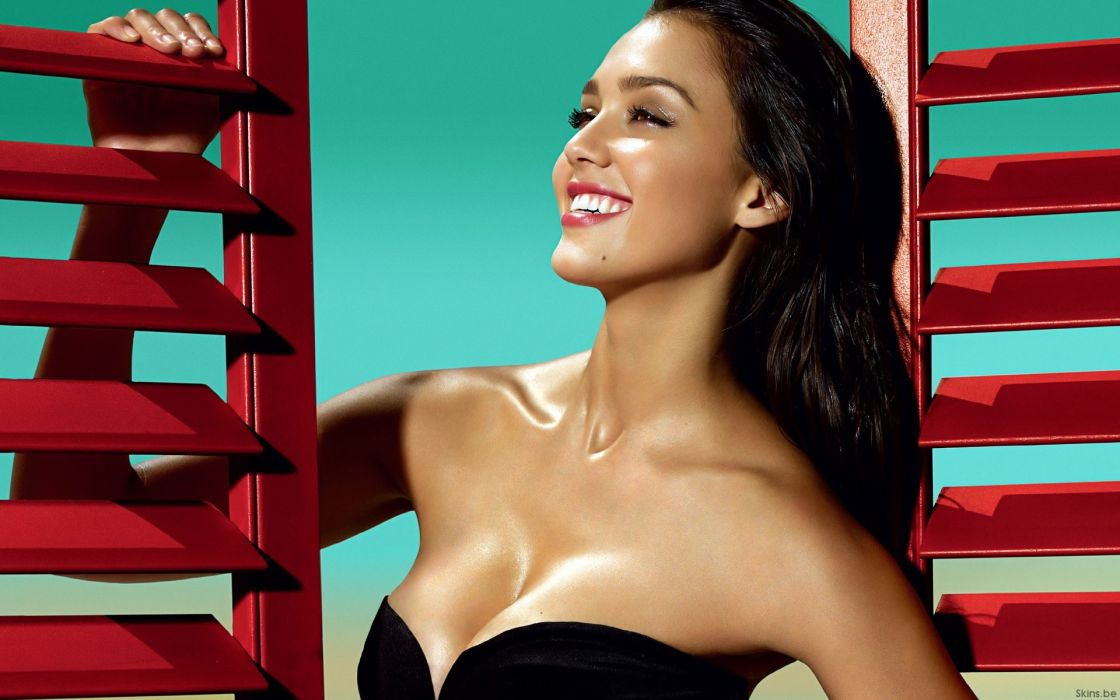 Women jessica alba actress cleavage celebrity smiling wallpaper
