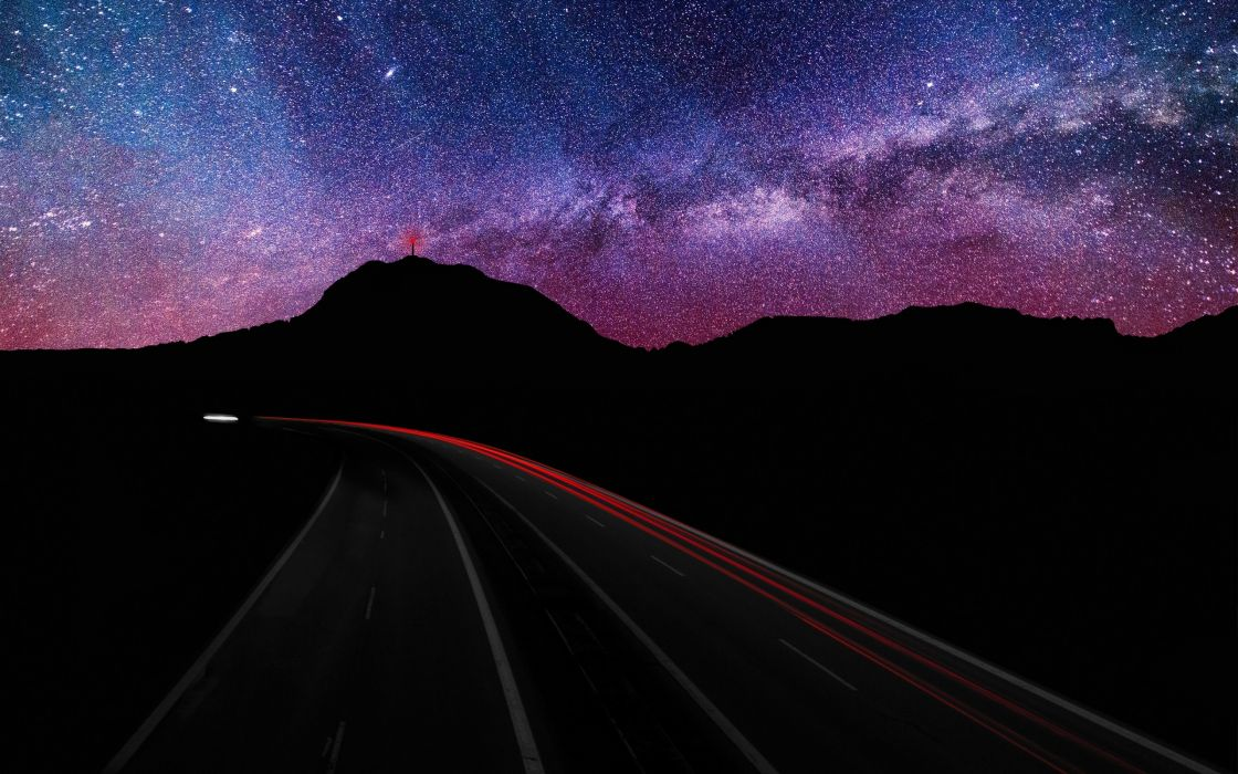 Blue mountains landscapes nature night stars purple hills roads long exposure milky way hdr photography skyscapes wallpaper