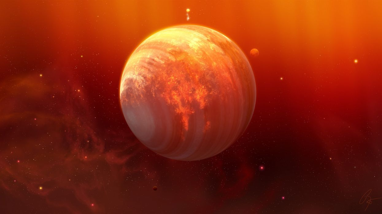 outer space planets orange joejesus josef barton wallpaper