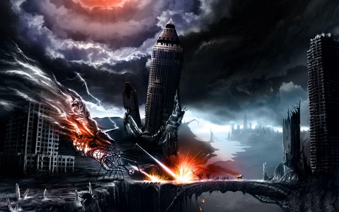 Apocalyptic fire fantasy art artwork wallpaper