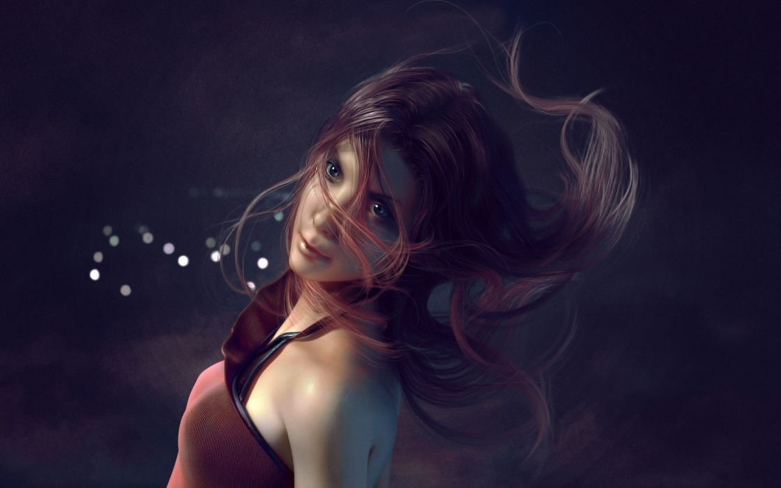Brunettes women artwork wallpaper