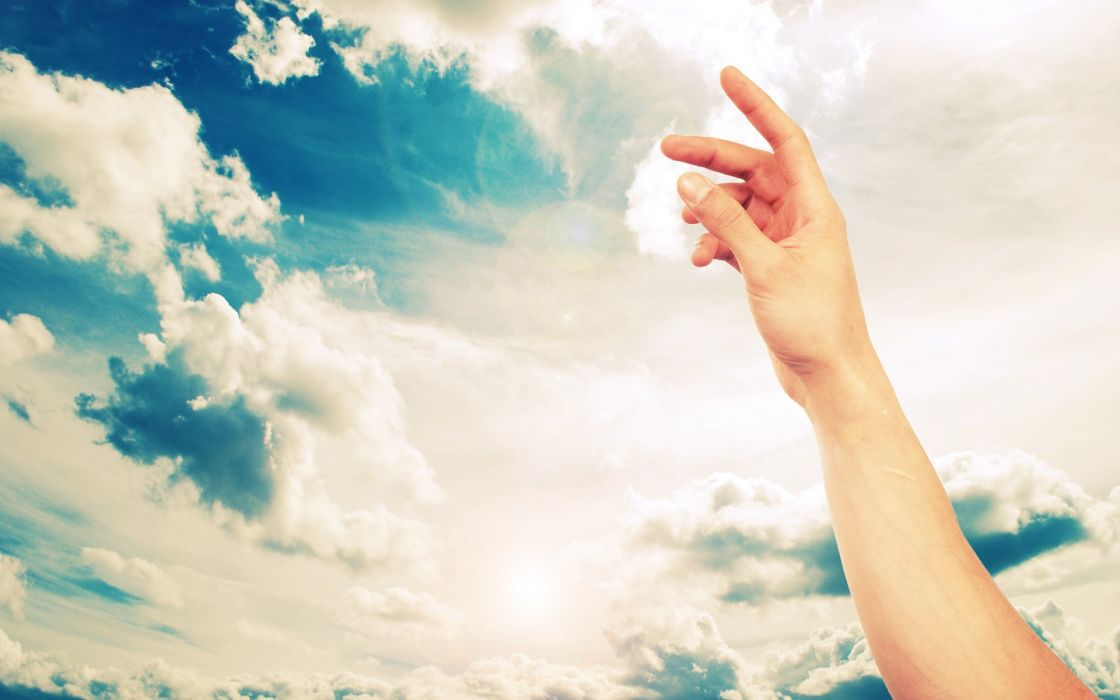 Clouds hands skyscapes arms raised wallpaper