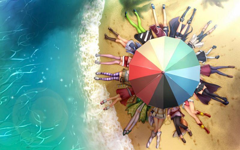 Legs beach seas anime umbrellas soft shading wallpaper