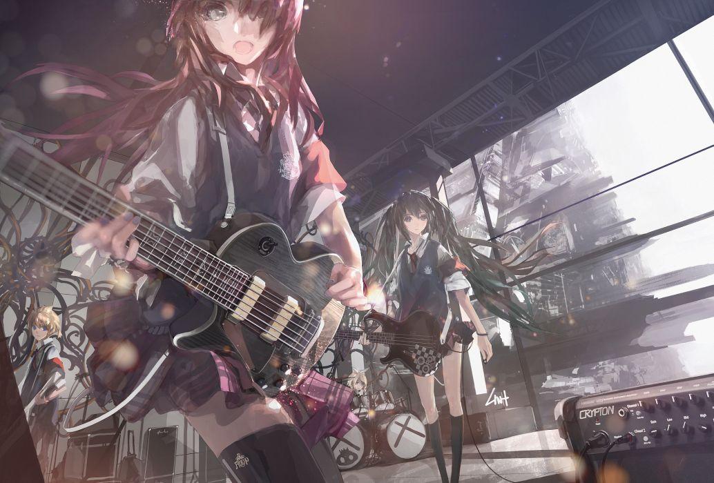 Vocaloid hatsune miku megurine luka kagamine rin kagamine len guitars soft shading wallpaper