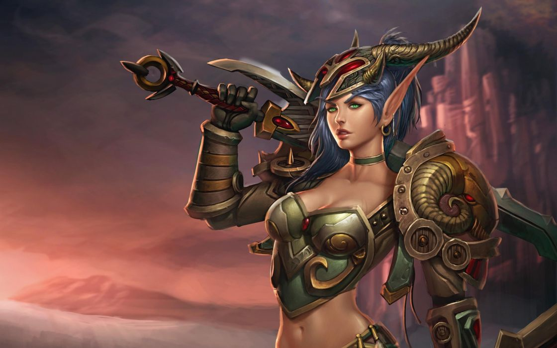 Women video games world of warcraft horns weapons blue hair green eyes fantasy art armor elves artwork soft shading long ears swords earings wallpaper
