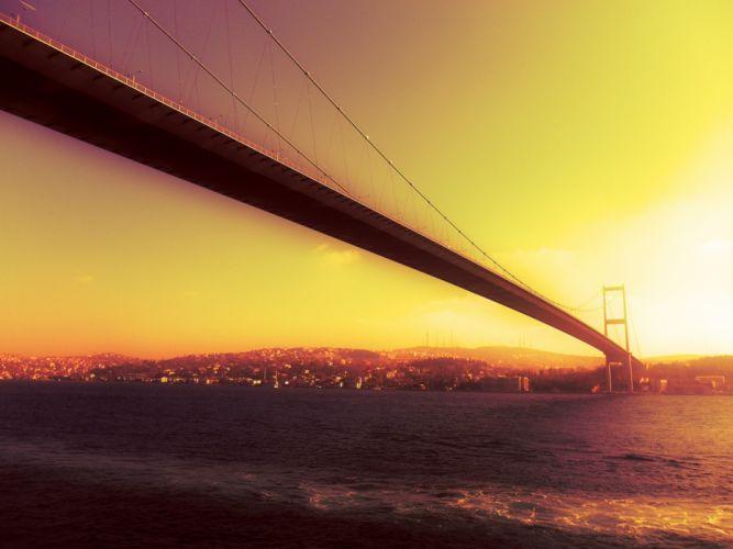 Sunset bridges istanbul wallpaper