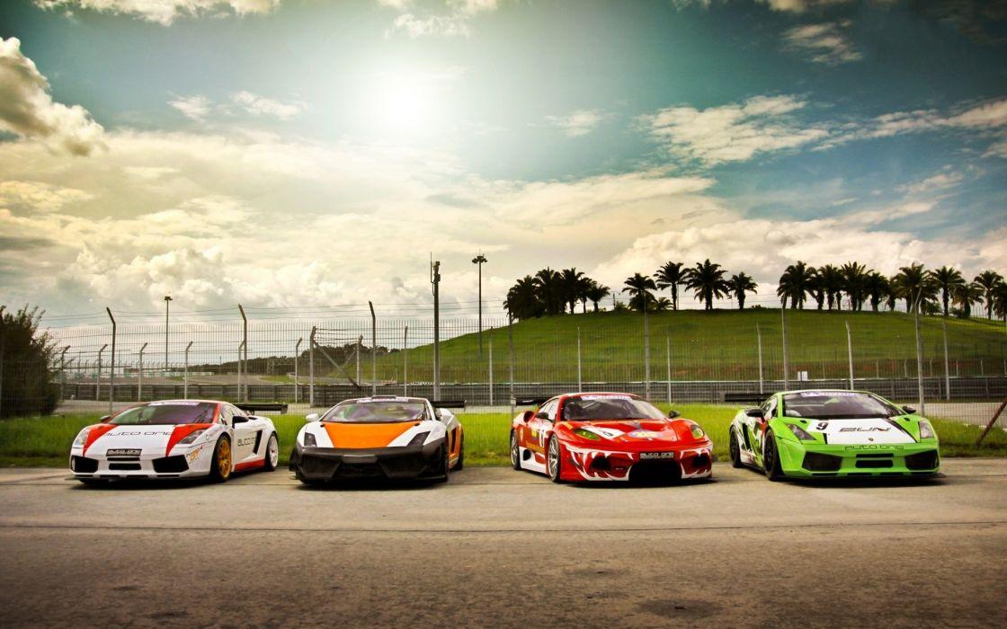 Cars parking lamborghini gallardo ferrari f430 racing cars wallpaper