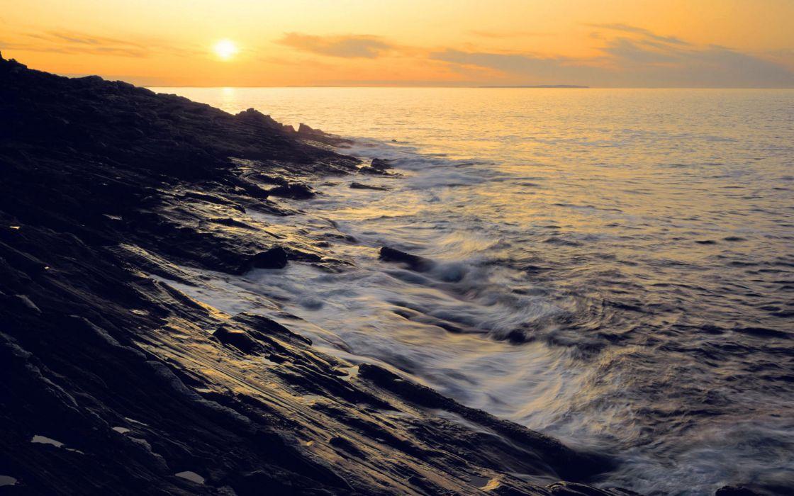 Sunset ocean coast wallpaper