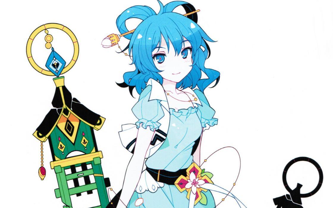 Video games touhou blue eyes blue hair short hair necklaces blue dress simple background ideolo kaku seiga white background hair ornaments wallpaper
