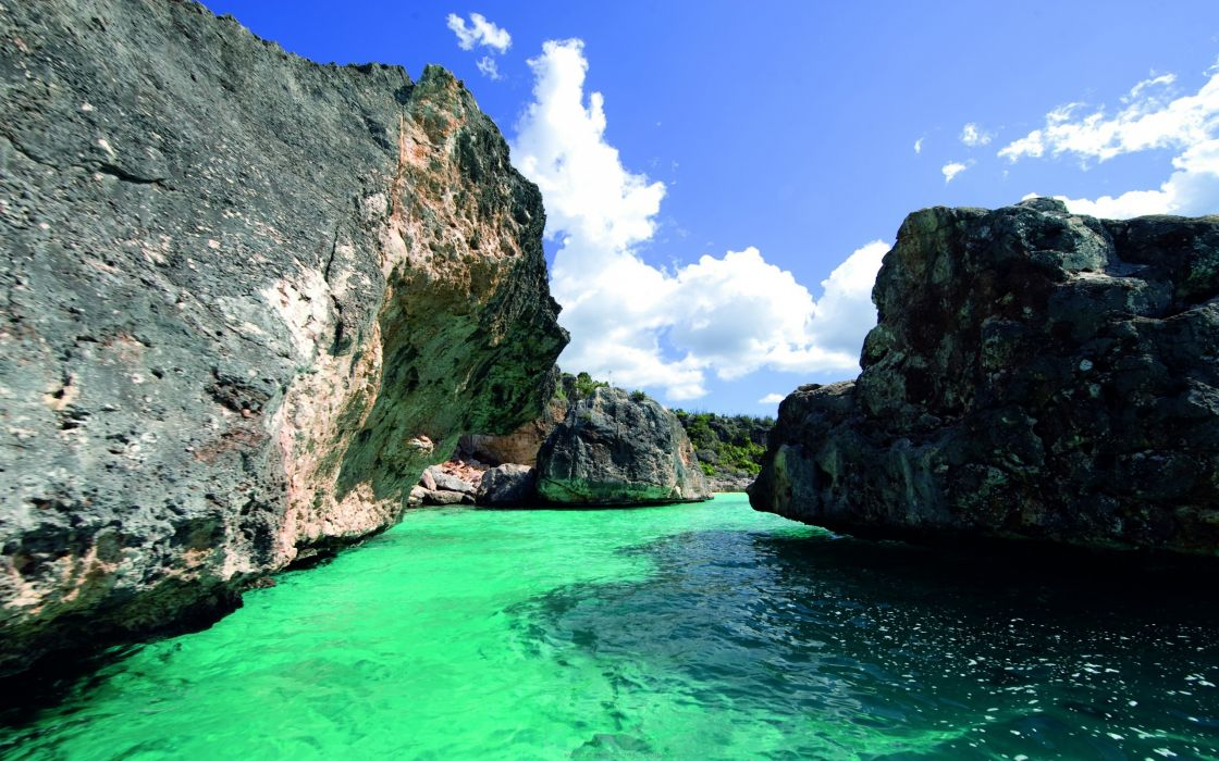 Water nature seas travel caribbean dominican republic mountain view wallpaper